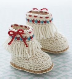 Modern Baby Booties - Kick up some cuteness with booties that are packed with trendy details! The 12 crochet designs by Kristi Simpson in Modern Baby Booties from Leisure Arts feature boots, sneakers, sandals, and other styles of footwear for boys and girls. All for Easy skill level using medium weight yarn, the designs include Peek-A-Boo Sandals, Crossover Sandals, Casual Boots, Espadrilles, High-Top Moccasins, Lacy Cuff Boots, Casual Loafers, Motif Sandals, Flower Petal Slippers, Sporty…