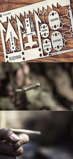 READYMAN Wilderness Survival Card credit card sized 22 in 1 metal survival tools that you can carry in your wallet, contains arrowhead @aegisgears
