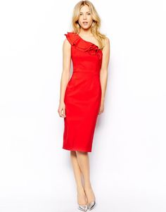 Tempest One Shoulder Midi Bodycon Dress Ruffle Detail in Red UK 16-EU 44-US 12