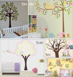 Kid's Room Decals ~ Retro Owls! : Growing Your Baby - Room Design Owl Themed Nursery, Baby Nursery Themes, Owl Wall Decals, Wall Stickers, Wall Murals, Wall Art, Baby Room Design, Cool Rooms, Girl Room