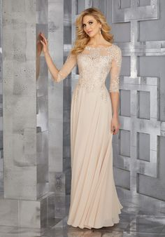 Morilee Mother Of The Bride Style 71622 // Long chiffon mother of the bride dress with beaded bodice and sleeve // Mori Lee Dresses, Mob Dresses, Dressy Dresses, Party Dresses, Bride Groom Dress, Bride Gowns, Wedding Gowns, Wedding Bridesmaids, Mother Of The Bride Dresses Long