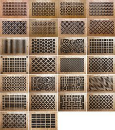 Pattern Cut Wood Grills for sliding above storeage doors