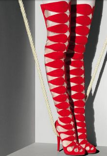 Christian Louboutin v. YSL Court Battle Continues After Christian Louboutin's request for a injunction was denied in federal court last summer, a federal appellate court began hearing arguments last. Christian Louboutin, Louboutin Shoes, Peep Toes, Bootie Boots, Shoe Boots, Jimmy Choo, Mode Shoes, Red Boots, Thigh High Boots