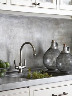 For a more modern twist on the traditional kitchen backsplash, use metal. Metal backsplashes come in various styles, colors, and finishes proving that no two metal backsplashes have to look alike. The ease of cleaning the surface is just another added bonus.