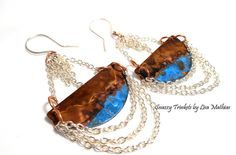 Buy Verdigris & Chained Copper Earrings Handmade by snazzytrinkets. Explore more products on http://snazzytrinkets.etsy.com
