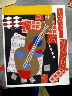 Picasso-inspired guitar collages Check out the rest of Amy's art inspired crafts Picasso Collage, Kunst Picasso, Picasso Art, Collage Art, Pablo Picasso, Picasso Prints, Picasso Style, Collage Ideas, Art Lessons For Kids