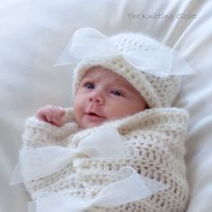 Crochet Baby Cocoon and Hat Pattern - Newborn Photo Prop - Baby Bows by TheKnittingCloset on Etsy https://www.etsy.com/listing/211614350/crochet-baby-cocoon-and-hat-pattern