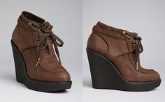 Burberry Lace Up Oxford Wedge Booties - Blandford