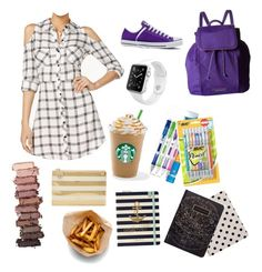 """Back to school contest entry 6"" by pinterestemily on Polyvore featuring Material Girl, Converse, Apple, Vera Bradley, Paper Mate, Kate Spade and Urban Decay"