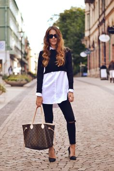 crop sweater over button down + LV bag