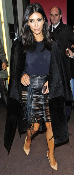 Kim Kardashian stepped out in a seriously sexy fringe skirt: