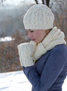 Hand knit women white set scarf  hat mittens merino  wool