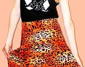 Colorful Pink and Orange Bright Leopard Print Circle // Skater Skirt Size Small // Medium