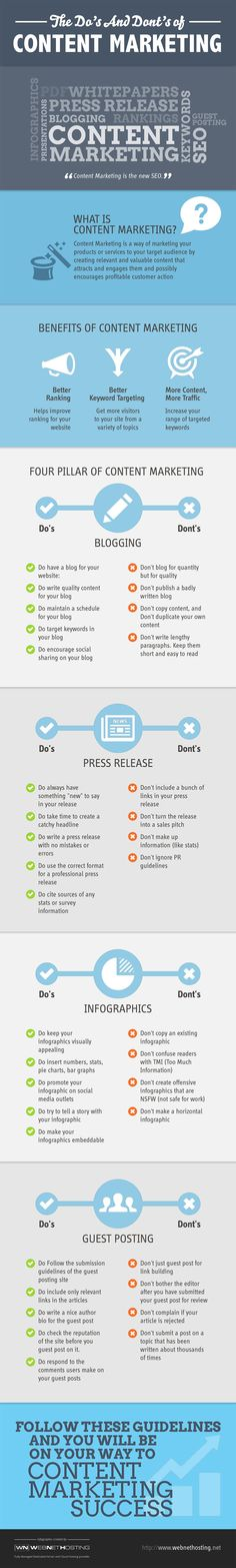 The Dos and Dont's of Content Marketing Infographic We hear about content marketing a lot these days. Many folks throw that phrase around but don't explain how to approach content marketing the right way. Inbound Marketing, Mundo Marketing, Marketing En Internet, Marketing Tactics, Content Marketing Strategy, Business Marketing, Marketing And Advertising, Online Marketing, Social Media Marketing