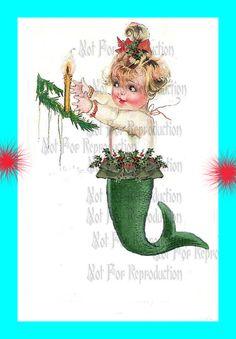 cm3 CHRISTMAS FABRIC MERMAID Baby Mermaid by wwwvintagemermaidcom, $3.00
