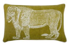 "Lion 12"" x 20"" Reversible Pillow in Ochre design by Thomas Paul"