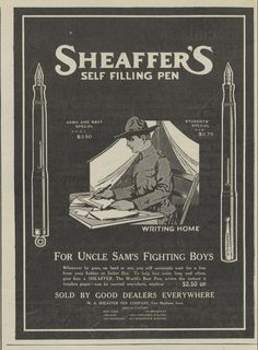 1917 Sheaffer's Fountain Pen Print Ad WWI Uncle Sam's Soldiers Writing Home  591917Outlk