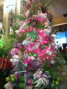 Pink, sugar pine flocked Christmas tree!