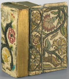 In Germany at the Galerie Bassenge in Berlin-Grunewald is this fabulous embroidered book of the It is English and is The Book of Comm. Jacobean Embroidery, Embroidery Stitches, Embroidery Patterns, Antique Books, Vintage Books, Medieval Embroidery, Berlin, Medieval Books, Stitch Book