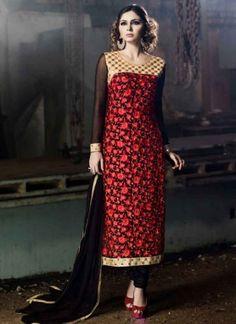 Awesome Black And Red Embroidered Resham Georgette Mirror Work Salwar Kameez http://www.angelnx.com/
