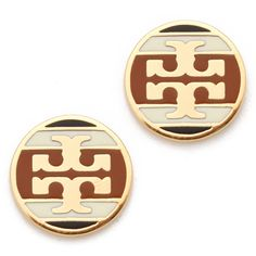 Tory Burch Striped Logo Stud Earring ($68) ❤ liked on Polyvore featuring jewelry, earrings, accessories, stud earrings, logo jewelry, tory burch, logo earrings, tory burch earrings and tory burch jewellery