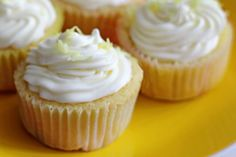 Lemon Buttermilk Cupcakes with Lemon Cream Frosting from favfamilyrecipes.com #cupcakes #lemon #recipes