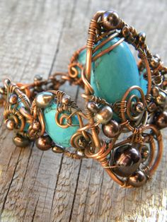 Handmade Wire wrapped Bracelet  Turquoise Blue by ChervlenyYar, $78.00