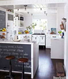 Easy way to keep adults and kids on the same page- use blackboards in the kitchen for grocery lists, dinner menus, family schedules, and more!