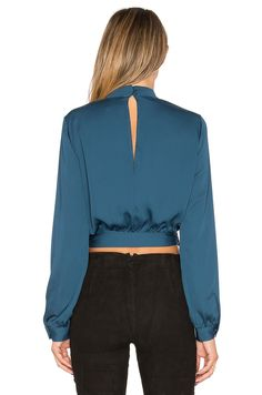 Shop for L'Academie The High Collar Wrap in Teal at REVOLVE. Blouse Styles, Blouse Designs, Casual Outfits, Fashion Outfits, Womens Fashion, High Collar Blouse, Fashion Vocabulary, Stylish Clothes For Women, Couture Tops