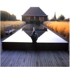 Piet Oudolf plantings surrounding pool in Netherlands. Designed by Piet for residence of Dutch Architect Pool Piscina, Moderne Pools, Garden Architecture, Garden Pool, Water Garden, Modern Landscaping, Pond Landscaping, Parcs, Pool Designs