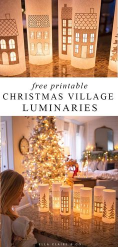 These free printable luminaries will create the most magical Christmas village for your holiday decorations! They are easy to put together and are perfect for many styles of decorating- from traditional to farmhouse to boho and more. Diy Christmas Village, Childrens Christmas, Magical Christmas, Simple Christmas, Christmas Home, Christmas Holidays, Christmas Lanterns Diy, Christmas Feeling, Christmas Projects