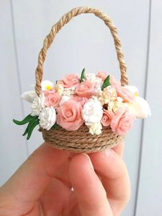 Shop for miniatures on Etsy, the place to express your creativity through the buying and selling of handmade and vintage goods. Jute Crafts, Diy Home Crafts, Felt Crafts, Nylon Flowers, Paper Flowers Diy, Flowers For Mom, Ribbon Flower Tutorial, Polymer Clay Flowers, Mothers Day Crafts