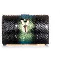 Yves Saint Laurent Degradé snakeskin clutch ($1,279) ❤ liked on Polyvore