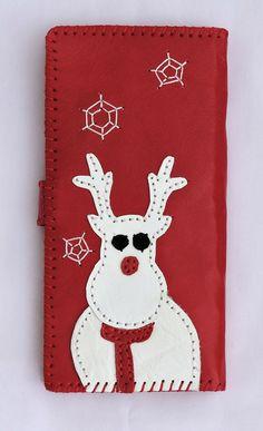 Santa Claus Costume And Kids Real Leather Zip Around Wallet Wristlet minimalist wallet Travel Purse Wristlet
