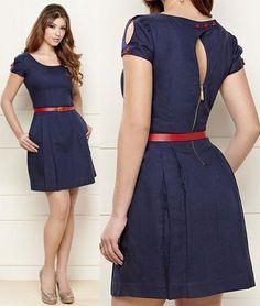 vestido azul marinho com cinto vermelho - Pesquisa Google