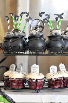 Black Mini Cauldrons | 12ct for $ 3.50 >> Wish I was having a Halloween party, these are fun!