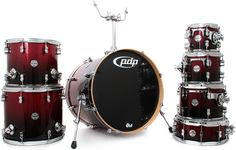 PDP Concept Maple 7-Piece Drum Shell Pack - Red to Black Sparkle Fade | Sweetwater.com