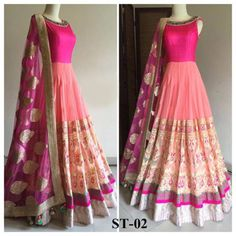Kreckon Fuchsia Pink Georgette Embroidered Semi Sttiched Lehenga-Choli Style Suit,Look fabulous in this Lehnga Choli. V&V Shop brings to you this exclusive Lehnga Choli which will impress you in many ways. The Lehnga Choli has been designed in a speci Anarkali Dress, Lehenga Choli, Indian Anarkali, Long Anarkali, Net Lehenga, Floor Length Anarkali, Indian Attire, Indian Ethnic Wear, Indian Dresses