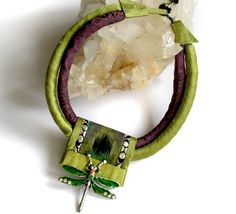 Silk Fiber Necklace in Chartreuse and Purple by gretchenschields
