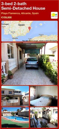 Semi-Detached House for Sale in Playa Flamenca, Alicante, Spain Semi Detached, Detached House, Portugal, Alicante Spain, Villa, Bath, Outdoor Decor, Home Decor, Beach
