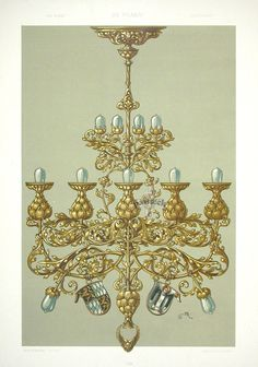 Antique Prints from Curtis- Chandelier