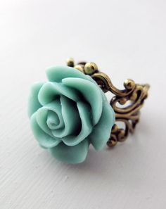 Blue Rose Ring, Antiqued Bronze