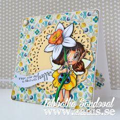Daffodil Fairy Happies Copics used: Skin: E50, E51, E21, E11, R20 Hair: E55, E57, E27 Dress: B93, B95, B97, B99, Y13, Y15, Y17, E37, E29 Flower: Y13, Y17, YR20, YR02, YR07, N1, G05, G29 Shadows: BV20, BV23, BV25 #thezadisproject #someoddgirl #cardmaking