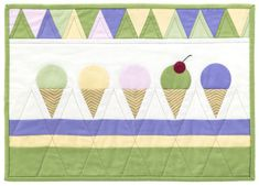 Ice cream is never out of season, which is exactly what this handmade quilt proves. Thanks to this lovely Ice Cream Cone Quilt tutorial from Simplicity, you'll be able to keep the sweet treat in full view year-round. Quilting Tutorials, Quilting Projects, Quilting Designs, Sewing Projects, Quilting Ideas, Embroidery Designs, Girls Quilts, Baby Quilts, Mini Quilts