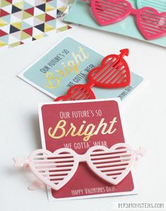 Our Future's So Bright Valentine.  Another darling non-candy classroom valentine idea at my3monsters.com