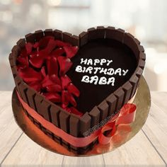 Get this delicious kitkat heart-shaped cake online for birthdays, anniversary etc. Free delivery in Delhi, Faridabad. Heart Shaped Birthday Cake, Heart Shaped Cakes, Happy Birthday, Wilton Cakes, Cupcake Cakes, Heart Shape Cake Design, Chocolate Cake Designs, Cake For Husband, Heart Shaped Chocolate