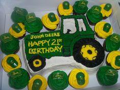 John Deere cake and matching cupcakes.