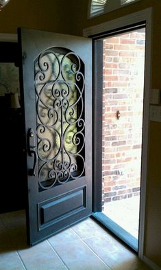 25 Entrance Gate Designs: Welcome your Visitor with Excellent Gate Design - Decoration For Home Iron Front Door, House Front Door, House Doors, Front Entry, Exterior Doors, Entry Doors, The Doors, Front Gate Design, Door Gate Design
