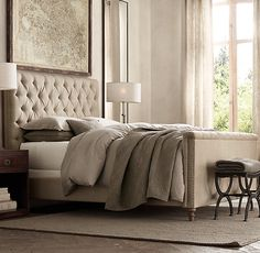 """Chesterfield 54"""" Panel Queen Bed With Footboard Belgian Linen Sand  Restoration Hardware...colors"""