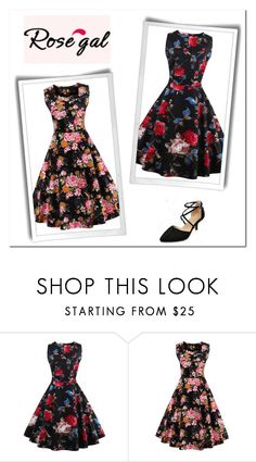 """""""Rosegal 35"""" by velidafashion ❤ liked on Polyvore featuring vintage and plus size dresses"""